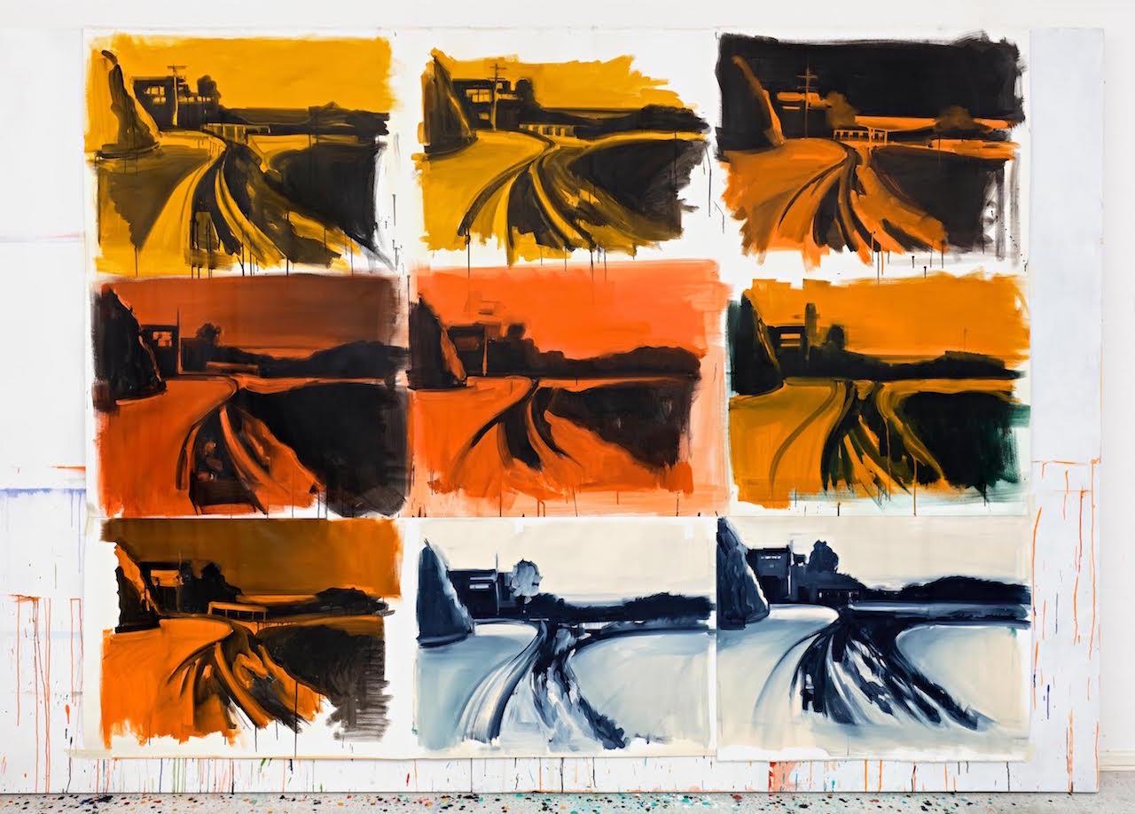 Roman Lipski, Unfinished I, 2016, Acryl auf Leinwand, 238 x 303 cm. Foto von Hans-Georg Gaul